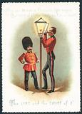 Soldiers lighting Gas Lamp, Christmas Card
