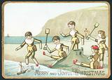 Toys Playing On Beach, Christmas Card