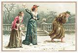 Ladies throwing snowballs at old man, Christmas Card