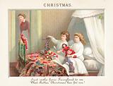 Chidren emptying stockings on Christmas Morning, Christmas Card