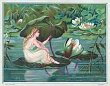 Girl sitting on Lily Pad in Pond, Christmas Card