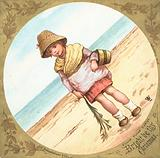 Girl standing on the beach, Christmas Card