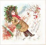 Boy carrying holly, Christmas Card