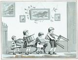 Children carrying chair and stools, Christmas Card