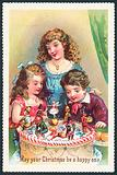 Lady and children admiring Christmas Cake, Christmas Card