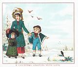 Mother and children walking in the snow, Christmas Card