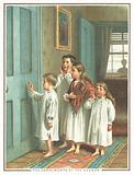 Children knocking on bedroom door, Christmas Card