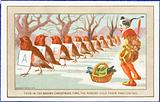 Robins and Clown in the snow, Christmas Card
