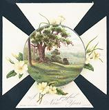Primroses and countryside scene, New Year Card