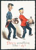 Inebriated Gentlemen carrying plum pudding and drink (Humorous), Christmas Card