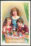 Children looking at Christmas Cake, Christmas Card