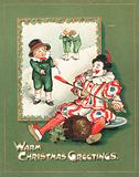 Clown stealing the Plum Pudding, Christmas Card