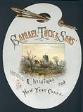 Artist's Palette with Church, Christmas Card