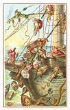 Elves throwing supplies overboard, Christmas Card