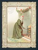 Old Woman stoking the fire, Christmas Card