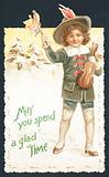 Boy with violin waving flags, Christmas Card