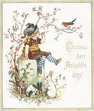 Girl with Rabbits, whistling at Robin, Christmas Card