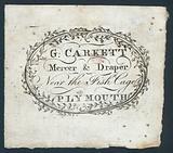G Carkett, mercer and draper, trade card