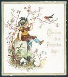 Christmas cheer and golden days – Christmas greetings card