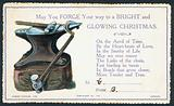 Victorian Christmas card with anvil and hammer