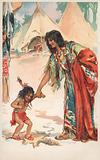 A Native American woman holding hands with her child