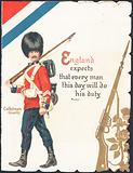 Greeting card with a soldier of the Coldstream Guards