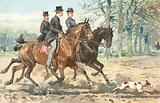 Three horse riders in the countryside