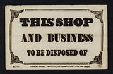 Advertisement: This shop and business to be disposed of