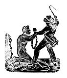 American beating a chained slave