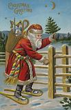Santa Claus on snow shoes