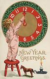 New Year's Card with small boy changing a clock