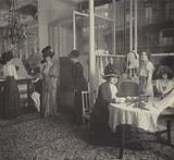 Sales salon at Doucet fashion house, Paris