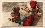 Santa Claus showing off a teddy bear