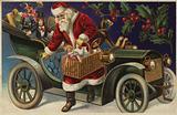 Santa Claus delivering presents by car