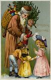 Santa Claus giving presents and a Christmas tree to children