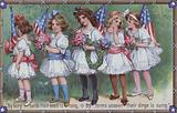 Memorial Day card, with a line of little girls holding posies of flowers and the Stars and Stripes