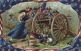 Memorial Day card, Molly Pitcher at the Cannon's Mouth
