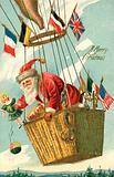 Christmas card, Santa Claus in a balloon