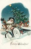 Christmas card, Santa Claus, driving a motor car, carrying a Christmas Tree and presents