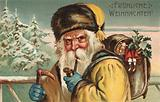 Christmas card, Santa Claus, smoking a pipe, carrying a knapsack of presents