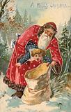 Christmas card, Santa Claus putting a badly behaved boy into a sack