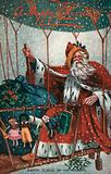 Christmas card, Santa Claus in an airship in the snow