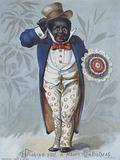Black man holding a rosette and tipping his hat: Christmas card