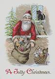 Santa Claus with sacks of toys: Christmas card