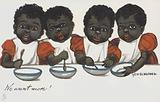 Four hungry black children asking for more food.