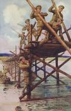 Soldiers of the Royal Engineers building a bridge during World War I
