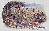 A group of dolls having a picnic