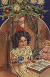 Greetings card depicting a young girl with her Christmas gifts