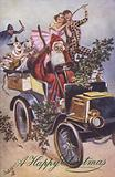 Christmas greetings card depicting Santa Claus driving a vintage car
