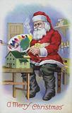 Greetings card depicting Santa Claus painting a toy house